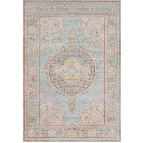 2' x 3' Green and Brown Persian Medallion Design Rectangular Machine Woven Area Rug - IMAGE 1