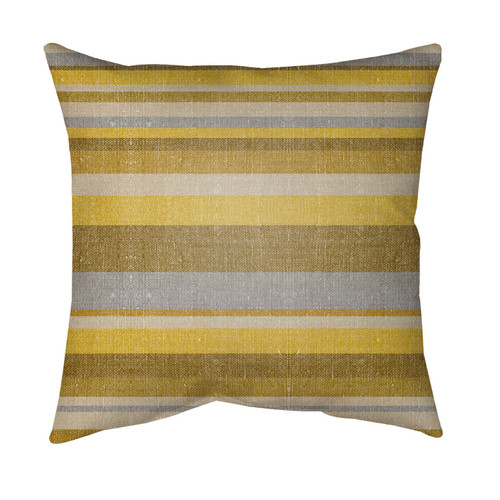 """16"""" Mustard Yellow and Gray Striped Square Throw Pillow Cover - IMAGE 1"""