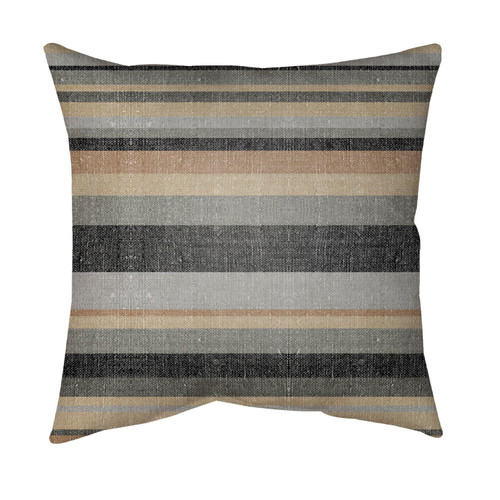 """16"""" Black and Brown Striped Square Throw Pillow Cover - IMAGE 1"""