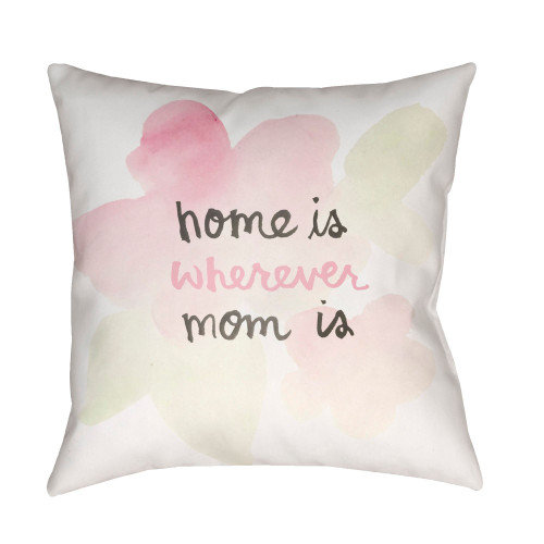 """18"""" White """"home is wherever mom is"""" Square Throw Pillow Cover - IMAGE 1"""