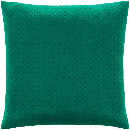 """22"""" Green Stitched Square Throw Pillow with Knife Edge - Polyester Filler - IMAGE 1"""