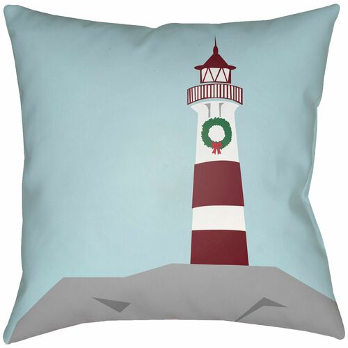 """18"""" Blue and Red Lighthouse Printed Square Throw Pillow Cover - IMAGE 1"""