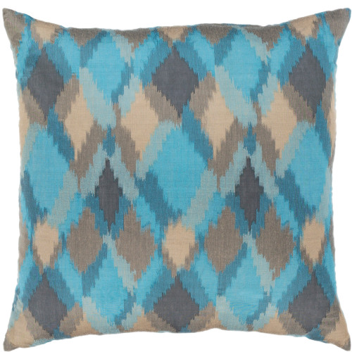 "20"" Blue and Brown Diamond Pattern Square Throw Pillow with Knife Edge - Down Filler - IMAGE 1"