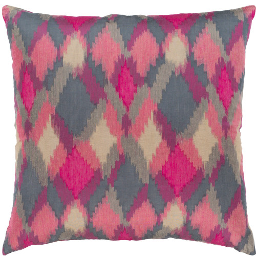 "20"" Pink and Red Diamond Pattern Square Throw Pillow with Knife Edge - Down Filler - IMAGE 1"