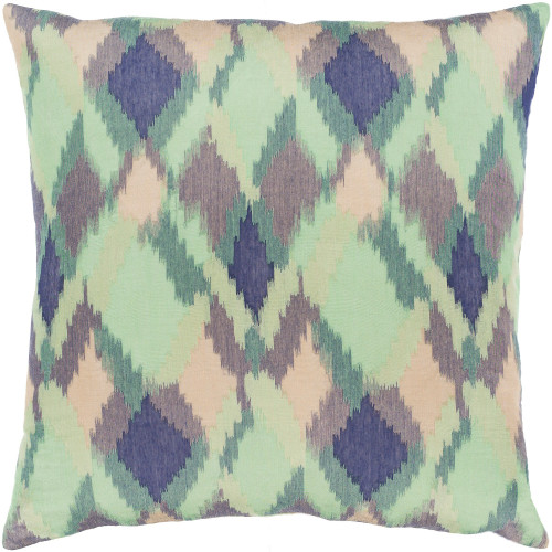 "20"" Green and Blue Diamond Pattern Square Throw Pillow with Knife Edge - Down Filler - IMAGE 1"