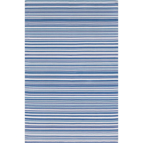 8' x 10' Striped Blue and Gray Rectangular Area Throw Rug - IMAGE 1