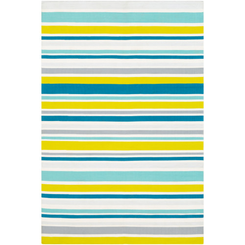 5' x 7.5' Striped Blue and Yellow Rectangular Area Throw Rug - IMAGE 1