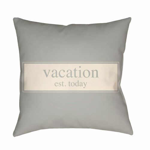 """16"""" Ivory and Gray """"Vacation est. today"""" Printed Square Throw Pillow Cover - IMAGE 1"""