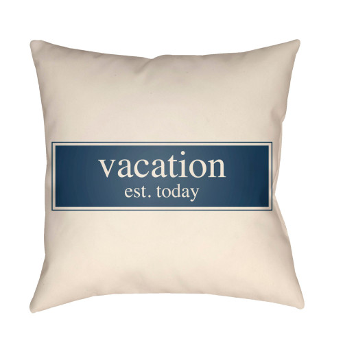 """16"""" White and Navy Blue """"Vacation est. today"""" Printed Square Throw Pillow Cover - IMAGE 1"""