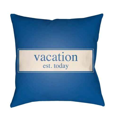 """16"""" Navy Blue and White """"Vacation est. today"""" Printed Square Throw Pillow Cover - IMAGE 1"""