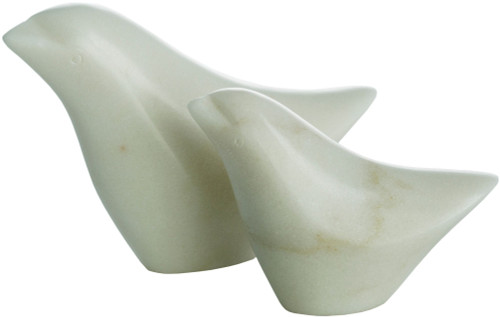 """Set of 2 White Solid Bird Figurines Table Accent Decor 6.5"""" - IMAGE 1"""