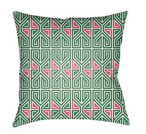 """16"""" Green and Pink Geometric Square Throw Pillow Cover - IMAGE 1"""