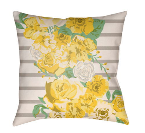 """16"""" Yellow and Ivory Floral Square Throw Pillow Cover - IMAGE 1"""
