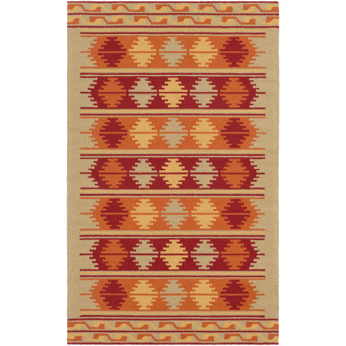 9' x 12' Traditional Style Orange and Red Rectangular Area Throw Rug - IMAGE 1