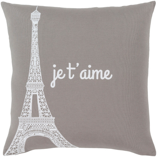 """22"""" Gray and White Screen Printed """"Je t'aime"""" Square Throw Pillow - Down Filler - IMAGE 1"""