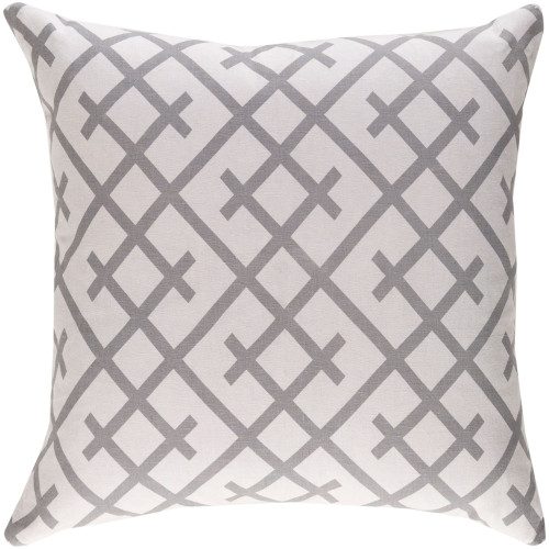 """18"""" Gray Geometric Design Square Woven Throw Pillow with Knife Edge - Down Filler - IMAGE 1"""