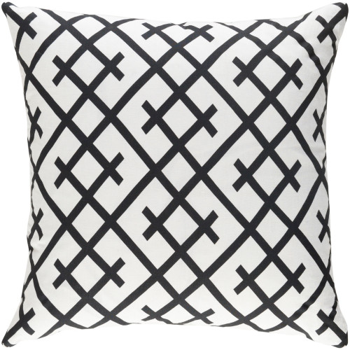 """18"""" Ivory and Black Geometric Design Square Woven Throw Pillow with Knife Edge - Down Filler - IMAGE 1"""