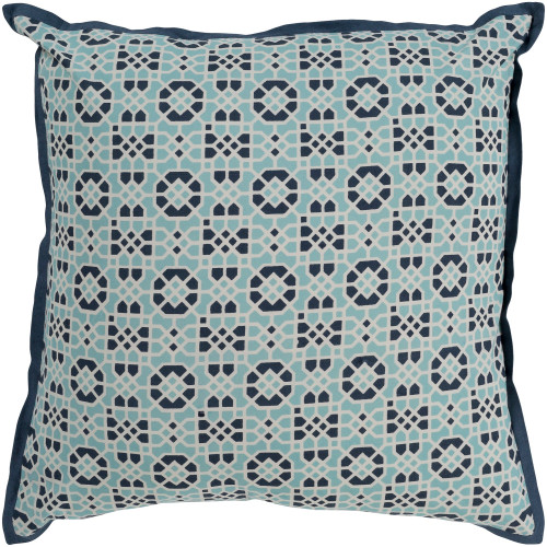 "22"" Blue and White Geometric Pattern Square Throw Pillow - Down Filler - IMAGE 1"