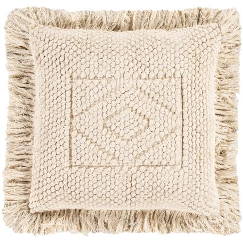 "20"" Cream Diamond Design Square Throw Pillow Cover with Fringe Edge - IMAGE 1"