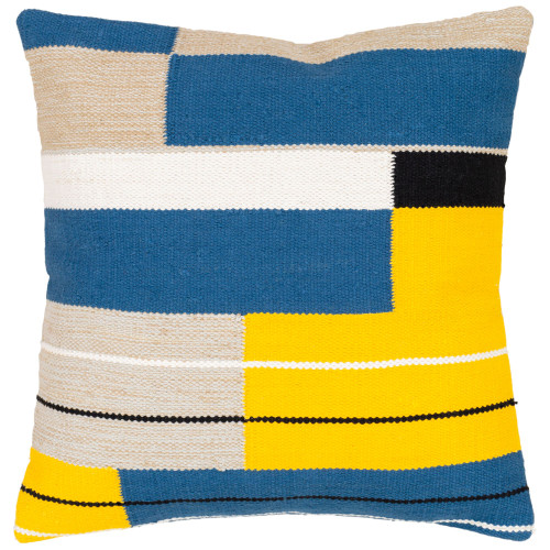 "20"" Yellow and Blue Geometric Design Hand Woven Square Throw Pillow with Knife Edge - Down Filler - IMAGE 1"