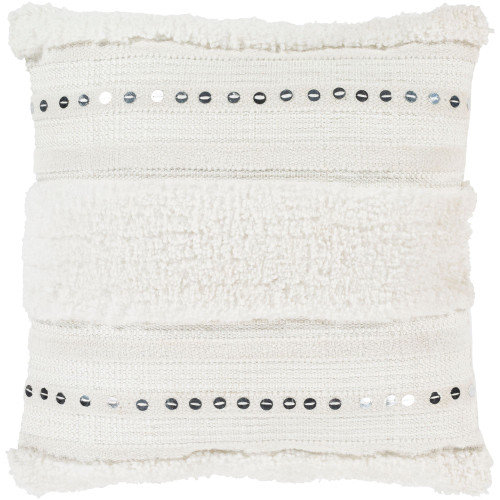 """22"""" Cream White Hand Woven Silver Sequined Throw Pillow with Knife Edge - Down Filler - IMAGE 1"""