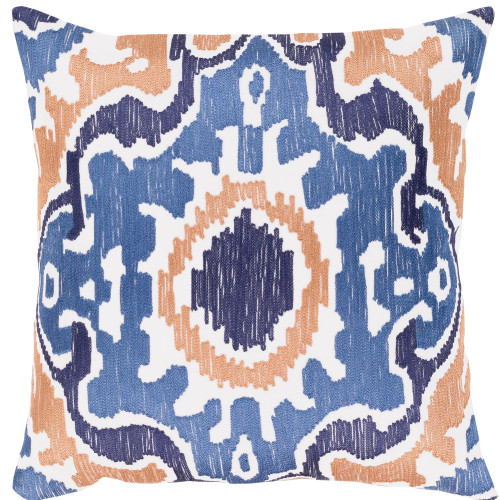 """18"""" Denim Blue and Ivory Machine Embroidered Square Woven Throw Pillow with Down Filler - IMAGE 1"""
