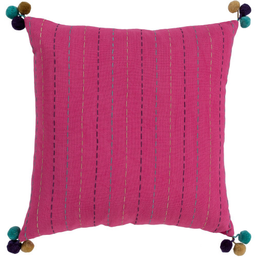 """22"""" Pink Hand Embroidered Square Woven Throw Pillow with Polyester Filler - IMAGE 1"""