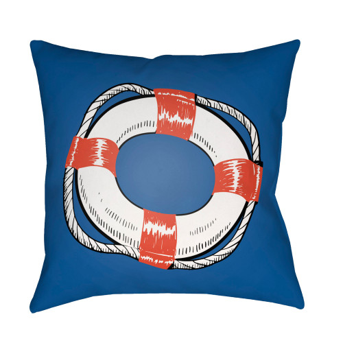 """16"""" Royal Blue and White Nautical Themed Square Throw Pillow Cover - IMAGE 1"""