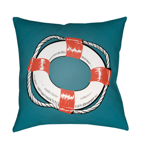 """16"""" Teal and White Nautical Themed Square Throw Pillow Cover - IMAGE 1"""