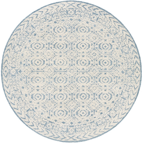 8' Blue and Beige Hexagon Patterned Round Tufted Area Rug - IMAGE 1