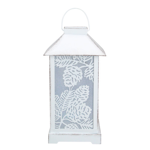 "10"" White Battery Operated Led Lantern Table Top Decor - IMAGE 1"