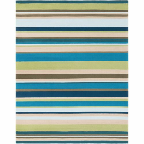10' x 14' Striped Teal Blue and Beige Rectangular Area Throw Rug - IMAGE 1