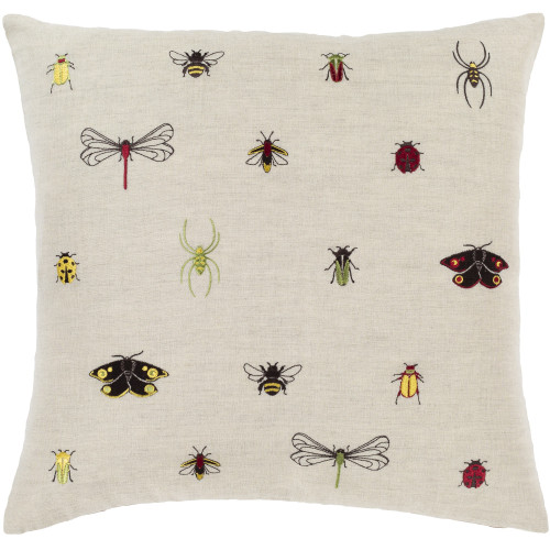 """20""""  Beige Embroidered Insects Design Throw Pillow - Down Filler - IMAGE 1"""