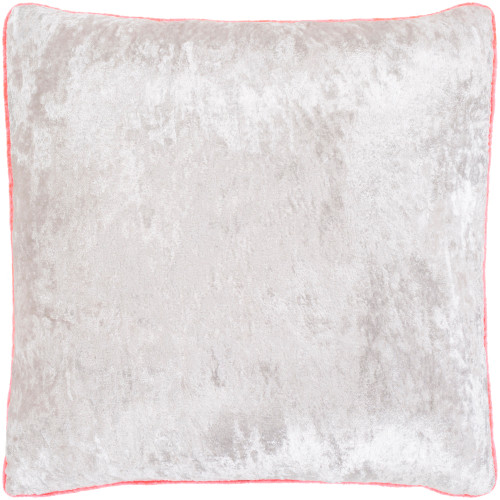 """18"""" Ivory and Pink Crushed Velvet Square Throw Pillow - Down Filler - IMAGE 1"""