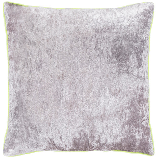 """22"""" Gray and Yellow Crushed Velvet Square Throw Pillow - Polyester Filler - IMAGE 1"""