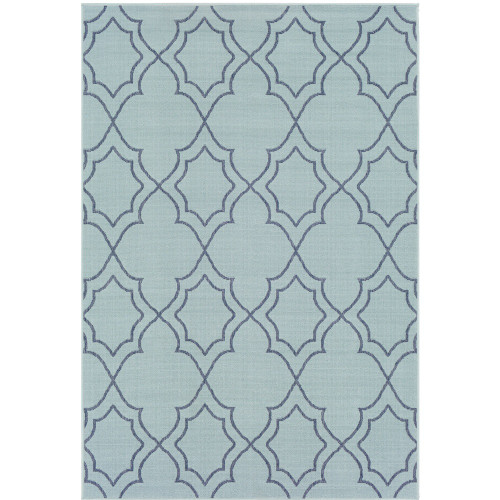 "2'3"" x 4'6"" Blue and Gray Trellis Patterned Rectangular Machine Woven Area Rug - IMAGE 1"
