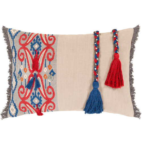 """20"""" Ivory and Red Embroidered with Tasseled Rope Design Rectangular Throw Pillow - Down Filler - IMAGE 1"""