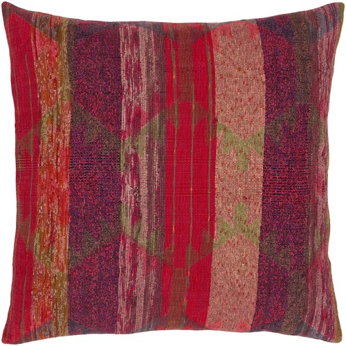 """20"""" x 20"""" Cover Red and Green Striped Patterned Square Throw Pillow Cover with Knife Edge - IMAGE 1"""