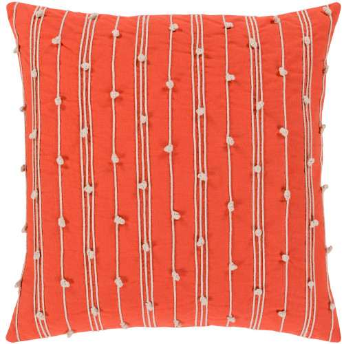 """18"""" Orange and Beige Hand Embroidered Square Throw Pillow - Down Filler - IMAGE 1"""