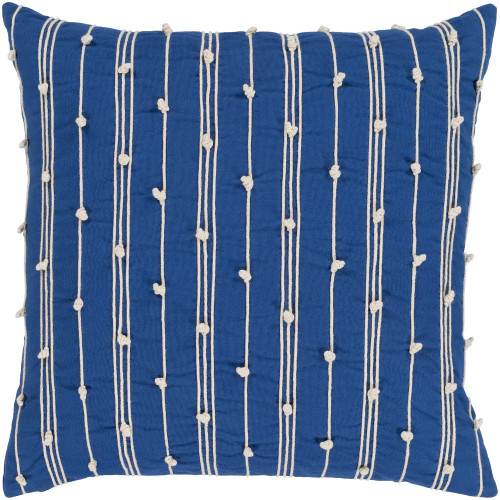 """20"""" Blue and Beige Hand Embroidered Square Throw Pillow - Polyester Filler - IMAGE 1"""