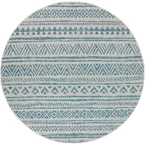 6.5' Intricate Geometric Aqua Blue and Gray Round Area Throw Rug - IMAGE 1