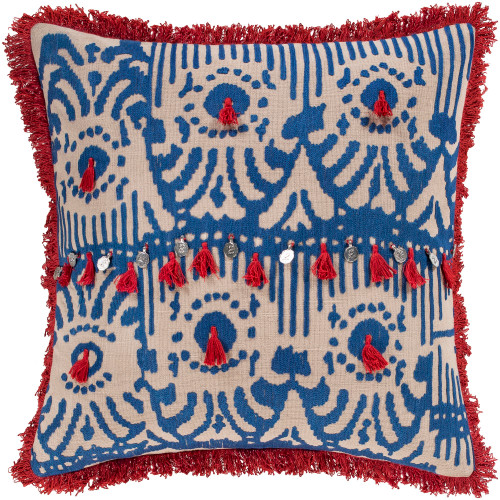 """18"""" Ivory and Blue Embroidered Tibetan Pattern with Red Tassel Throw Pillow - Down Filler - IMAGE 1"""