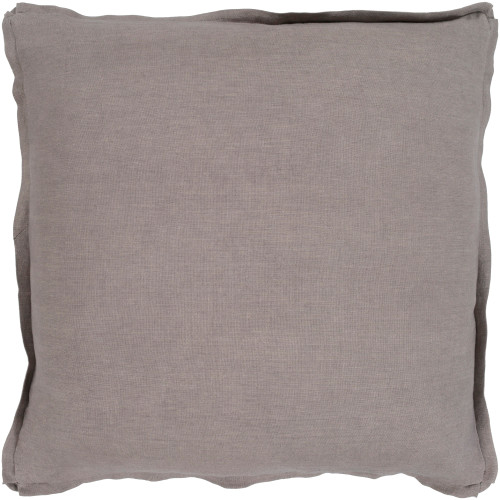 """18"""" Solid Taupe Gray Finish Square Woven Throw Pillow Cover with Flange Edge - IMAGE 1"""