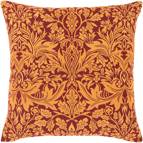 """18"""" Red and Orange Leaf Patterned Square Throw Pillow Cover with Knife Edge - IMAGE 1"""