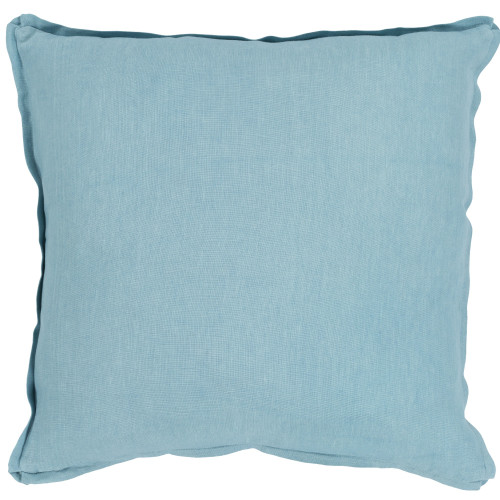 "18"" Solid Aqua Blue Finish Square Woven Throw Pillow Cover with Flange Edge - IMAGE 1"
