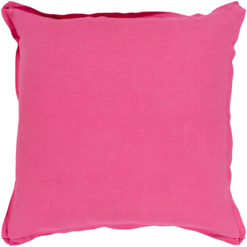 """18"""" Solid Bright Pink Finish Square Woven Throw Pillow Cover with Flange Edge - IMAGE 1"""