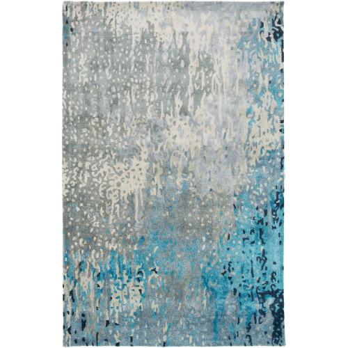 9' x 13' Distressed Finish Gray and Blue Rectangular Area Throw Rug - IMAGE 1