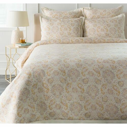 """86"""" Gray and Mustard Yellow Twin Duvet Set with One Standard Sham - IMAGE 1"""