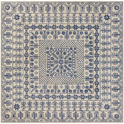 8' x 8' Transitional Style Beige and Blue New Zealand Wool Square Area Throw Rug - IMAGE 1