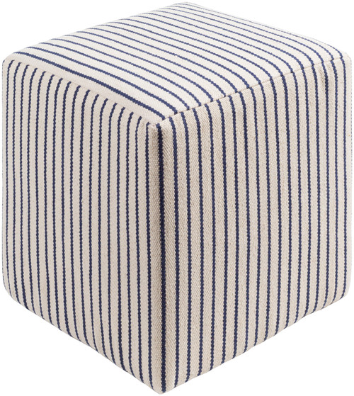 """18"""" Navy Blue and Cream Contemporary Striped Pouf Ottoman - IMAGE 1"""